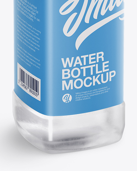 Clear PET Water Bottle Mockup - Half Side View (High-Angle Shot)