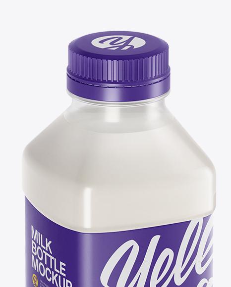 Clear PET Milk Bottle Mockup - Half Side View (High-Angle Shot)