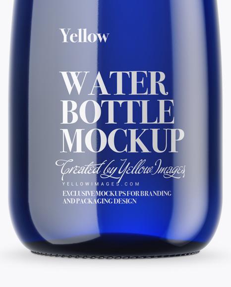 Blue Glass Water Bottle Mockup