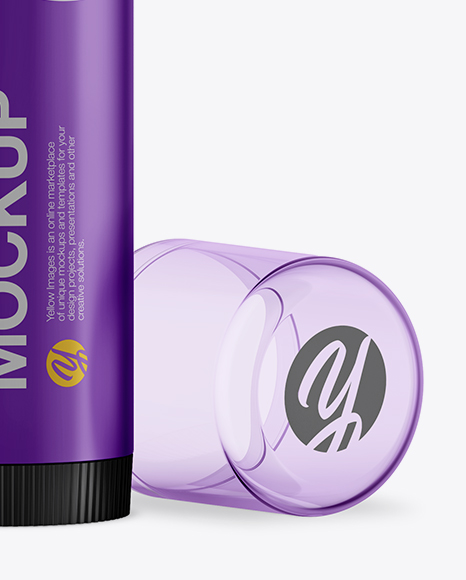 Download Metallized Lip Balm Tube With Transparent Cap Mockup PSD - Free PSD Mockup Templates