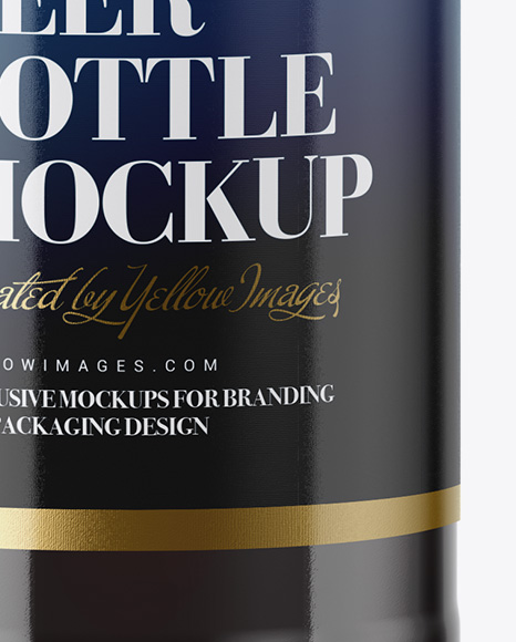 330ml Clear Glass Bottle with Brown Ale Mockup