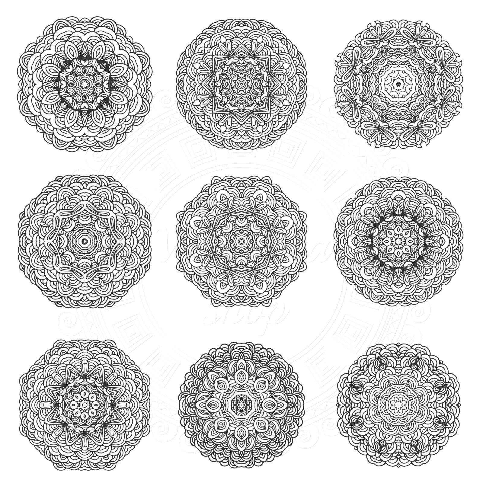Hand-drawn mandalas set