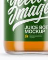 Clear Glass Red Apple Juice Bottle Mockup