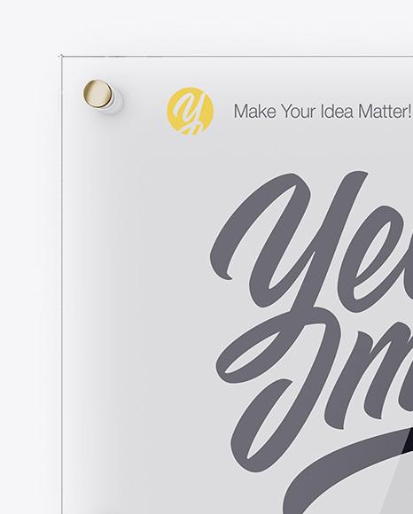 Horizontal Glass Nameplate Mockup - Front View