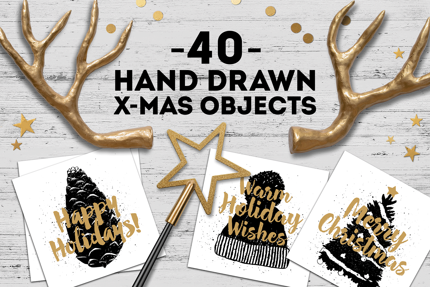 New Year. 40 Hand Drawn Objects