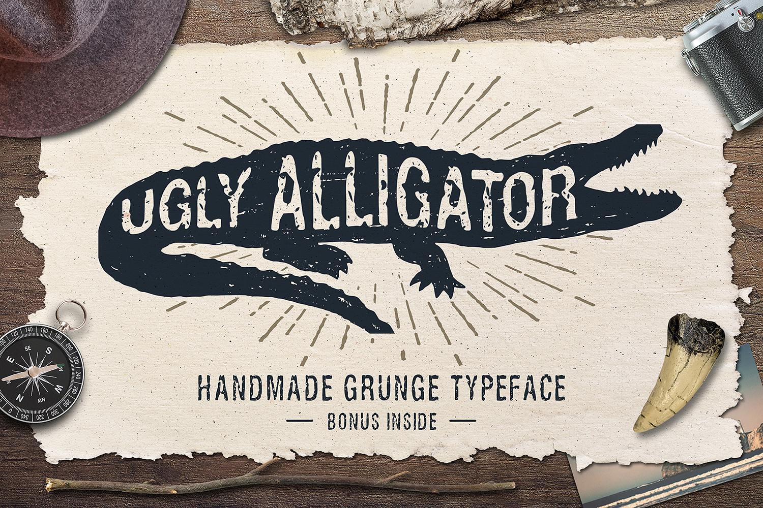 Ugly Alligator - Grunge Typeface in Fonts on Yellow Images Creative
