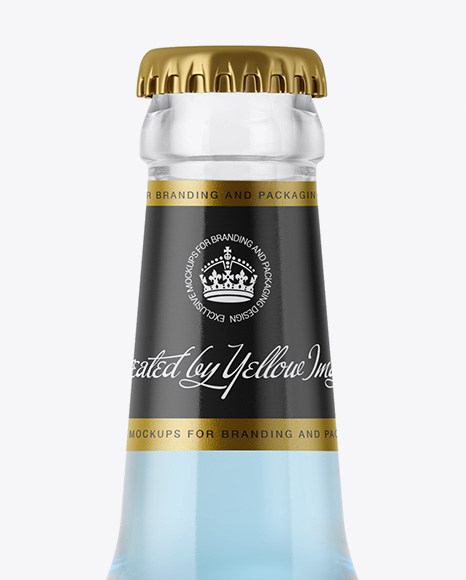 330ml Clear Glass Bottle with Blue Drink Mockup