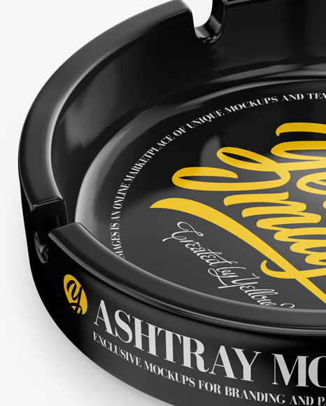 Glossy Ashtray Mockup - Half-Side View (High Angle)