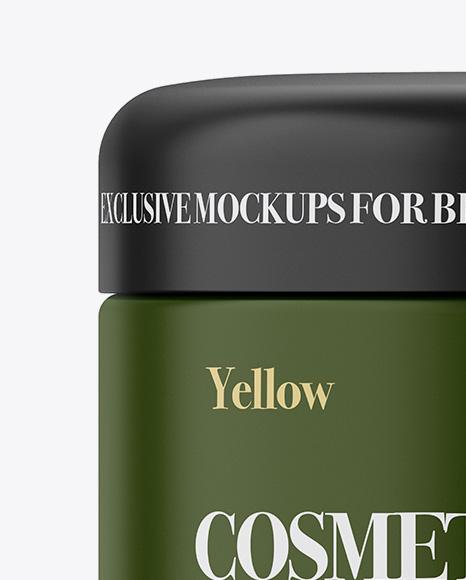 Matte Plastic Cosmetic Jar Mockup - Front View