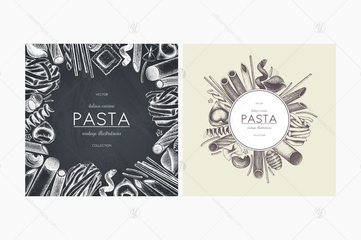 Hand Drawn Italian Pasta Collection