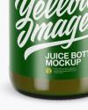 Green Glass Juice Bottle Mockup - High-Angle Shot