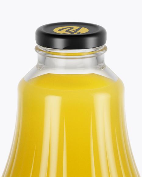 Clear Glass Orange Juice Bottle Mockup