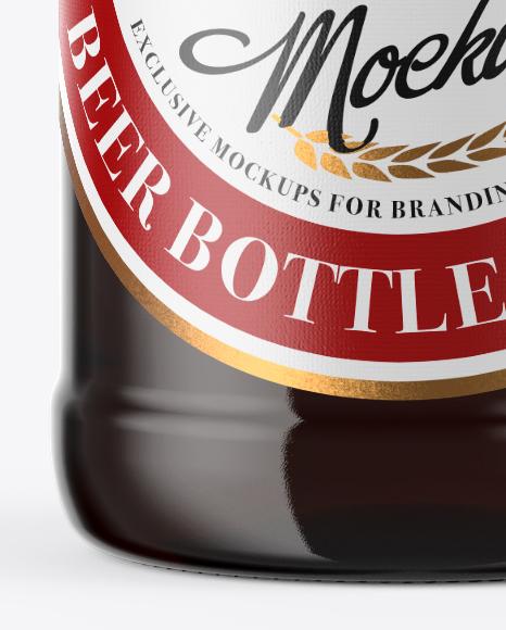 500ml Dark Amber Beer Bottle With Swing Top Mockup