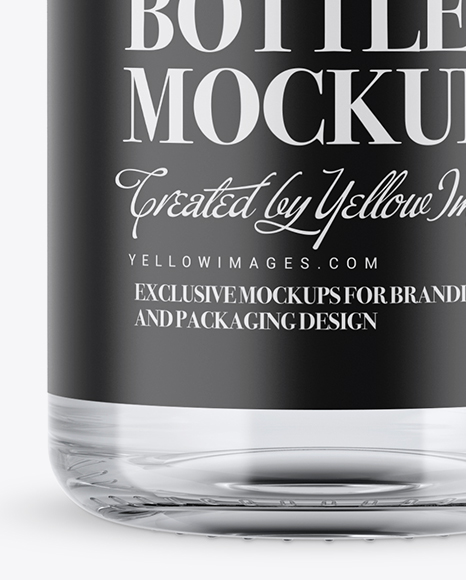 Clear Glass Vodka Bottle with Shrink Band Mockup