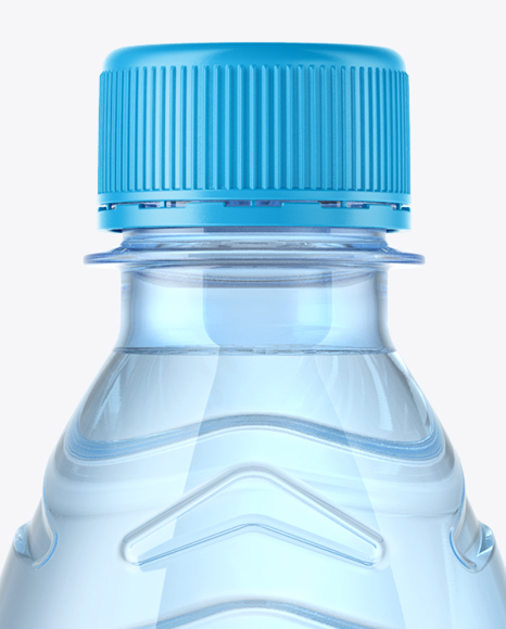 Blue PET Water Bottle Mockup