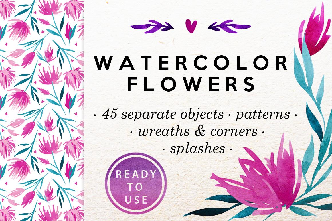 Watercolor Flowers Clip-Art Set