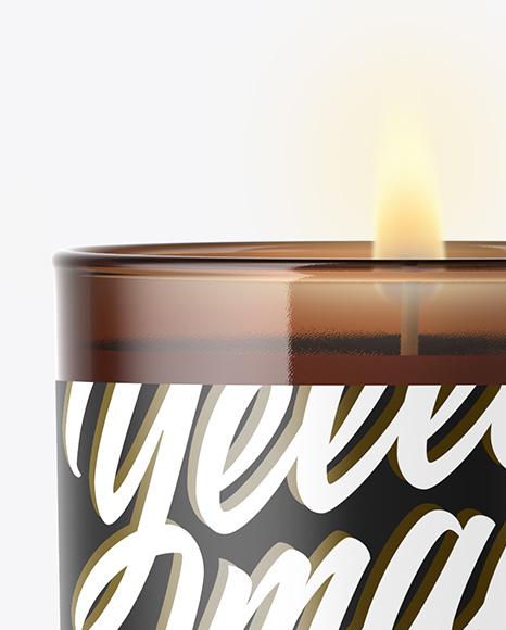 Amber Glass Candle Mockup