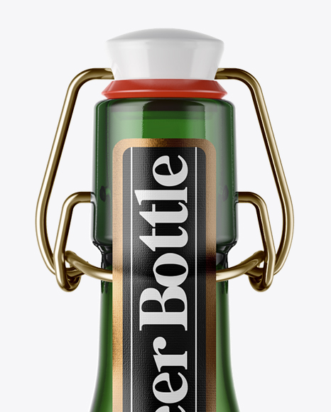 500ml Green Glass Beer Bottle With Swing Top Mockup