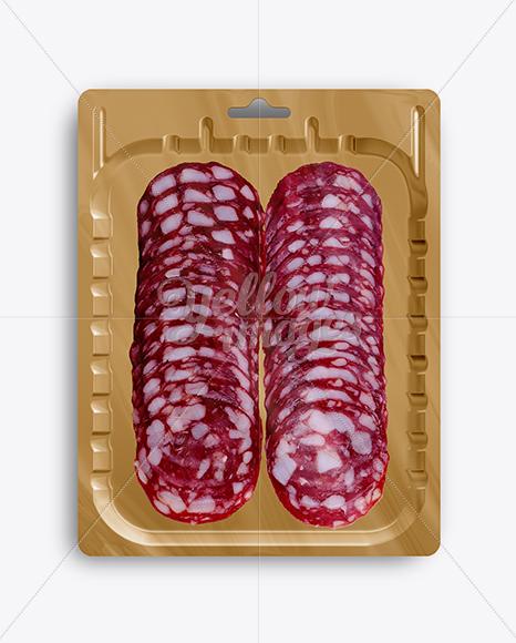 Vacuum Tray W/ Spicy Italian Salami Mock-up