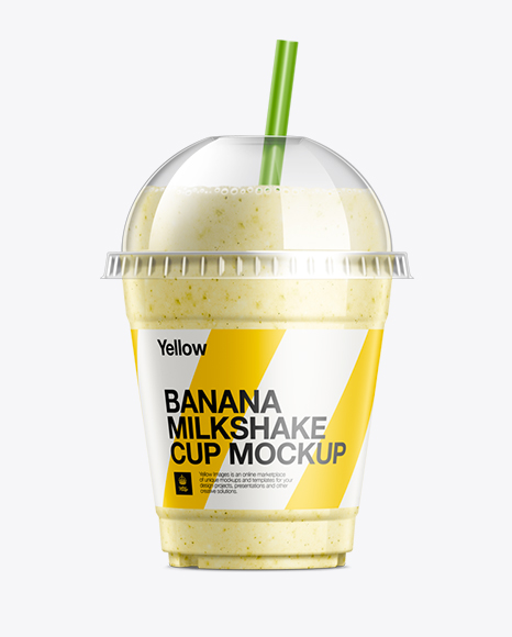 Banana Milkshake Cup With Straw Mockup In Cup Bowl Mockups On