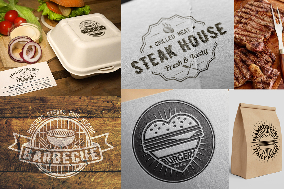 30 Burgers and barbecue logos