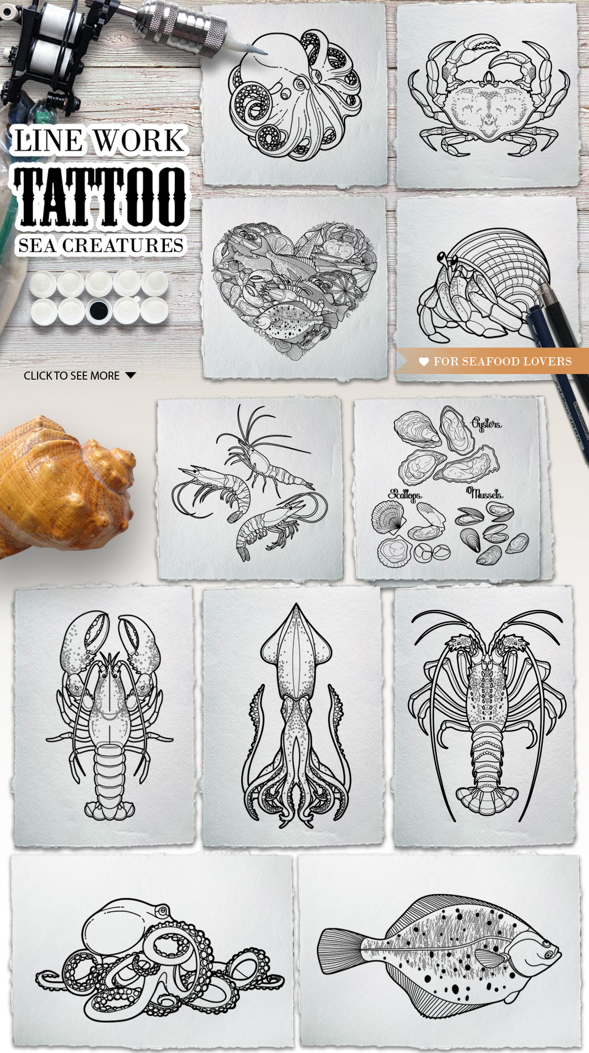 Ocean collection for tattoo design