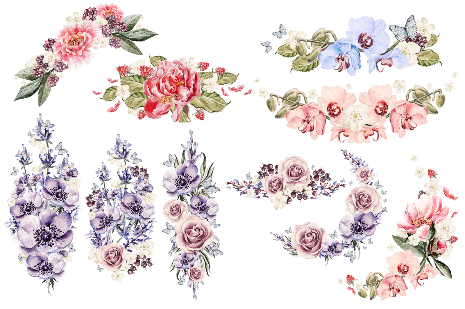 watercolor ELEMENTS and WREATH