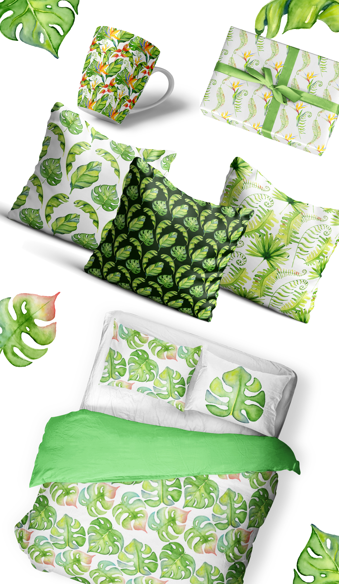 Tropical leaves watercolor clipart