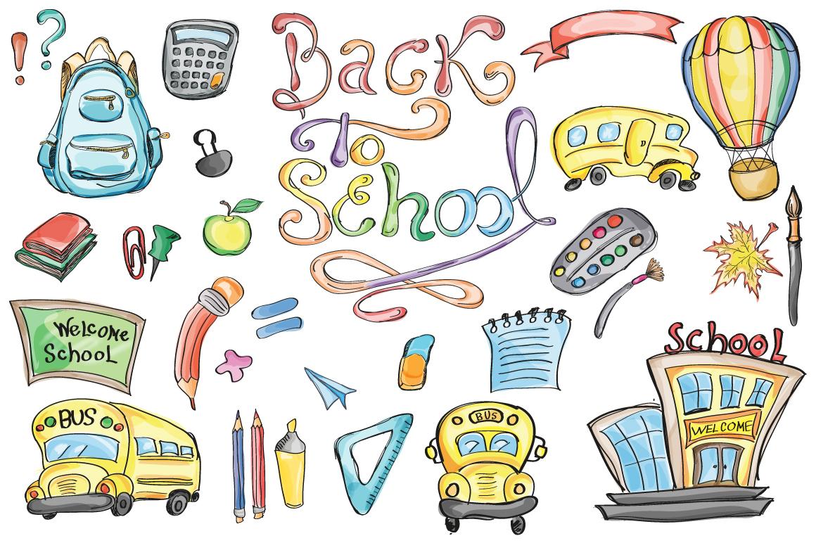 Back to School Set Clipart & Vector