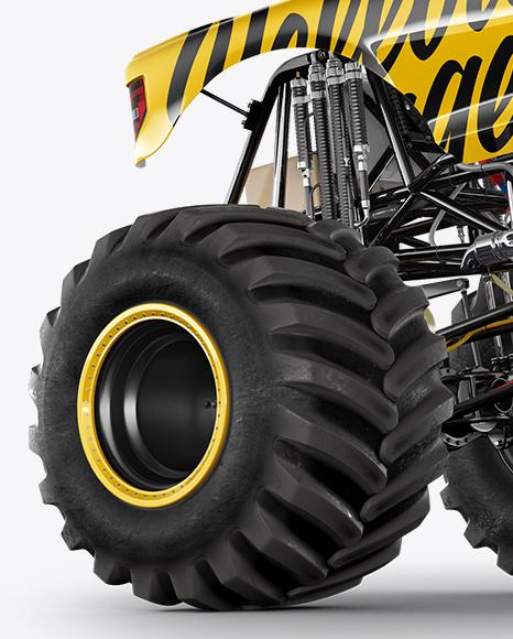 Monster Truck Crushing Car Mockup - Hero Shot