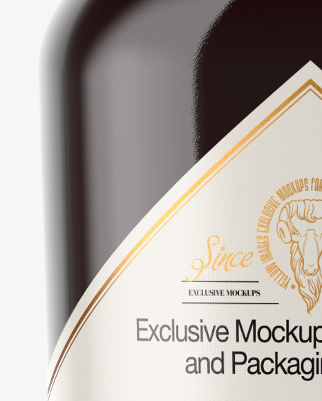 Clear Glass Bottle with Black Rum Mockup