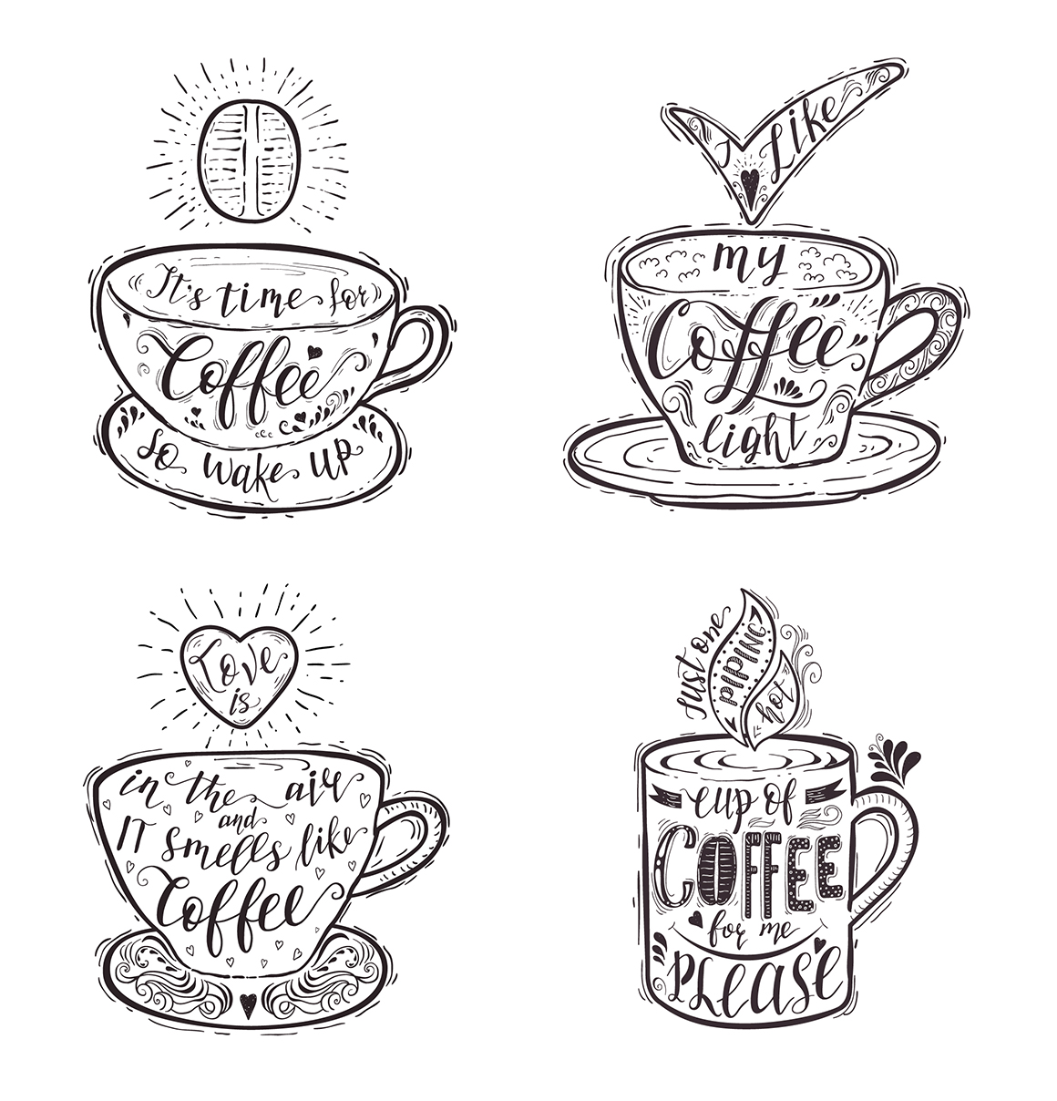 Set of Quotes for coffee. Lettering.