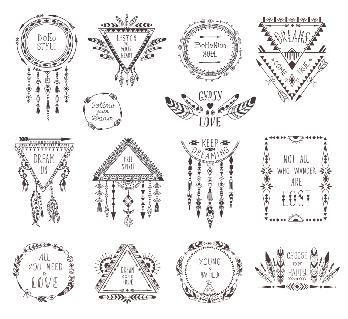 Set: Ethnic Style Designs. Boho Decoration.