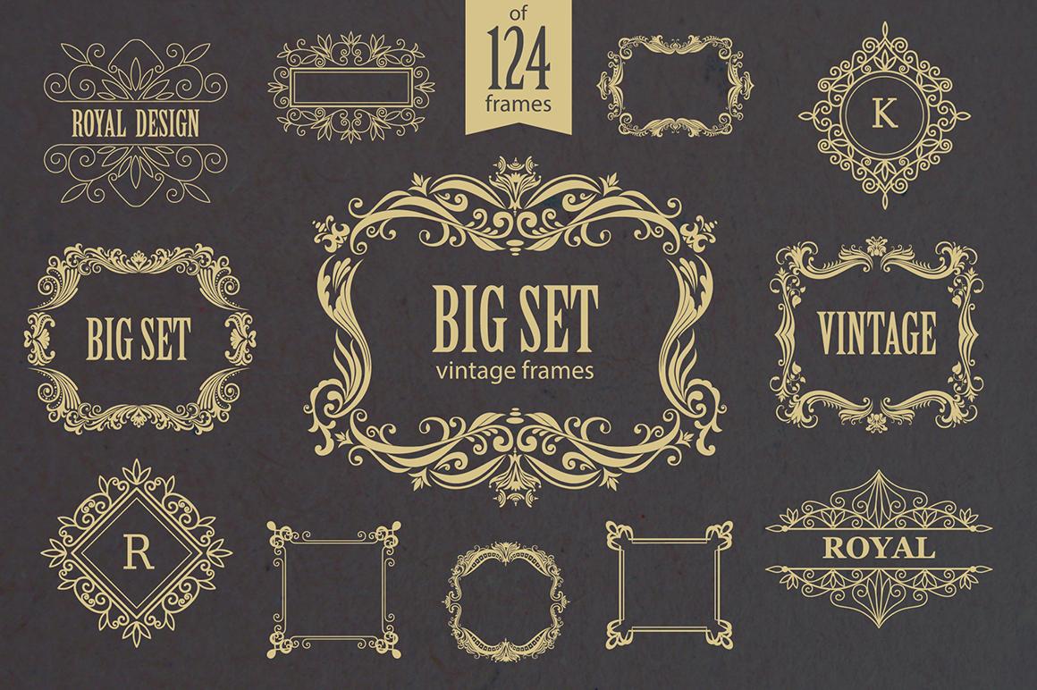 Set of vintage frames and monograms.
