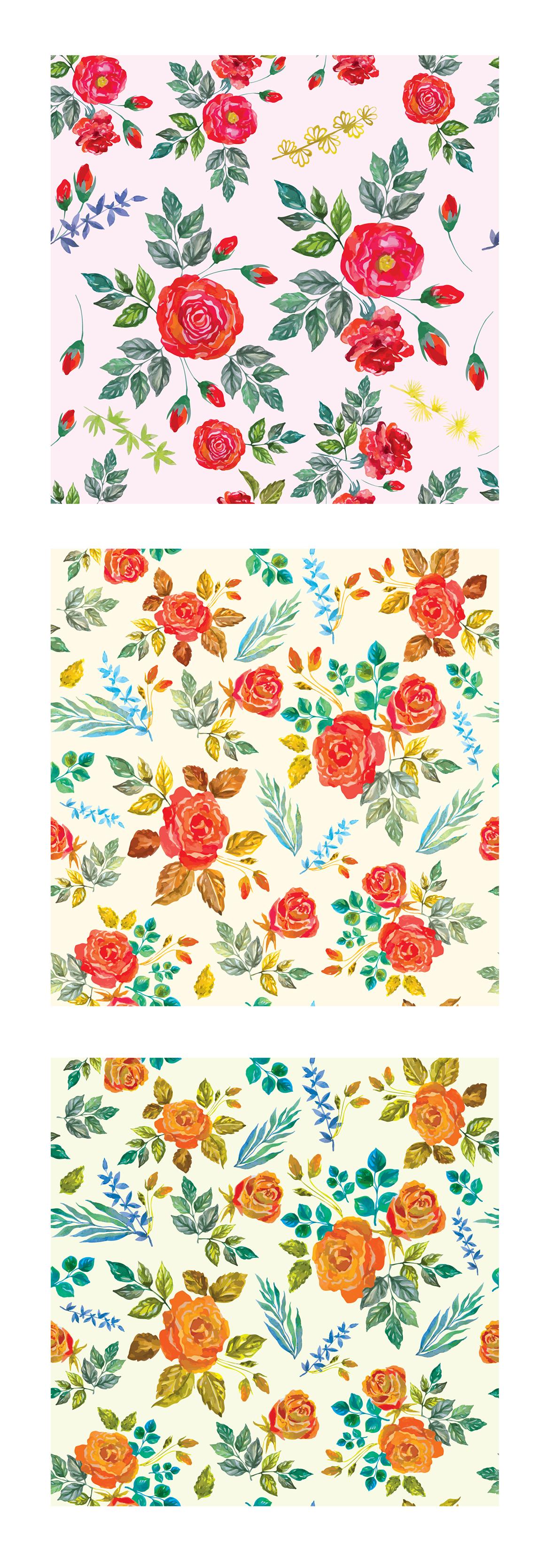 Watercolor floral design elements