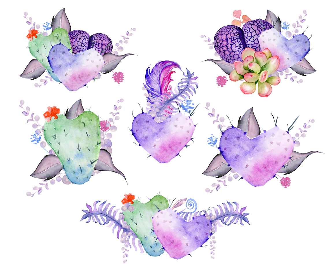 Cactus boho. Watercolor clipart in illustrations