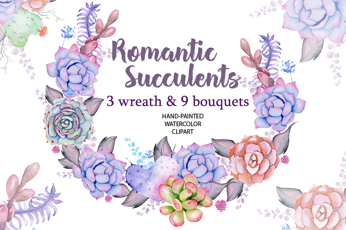 Watercolor Succulent Wreath & Bouqut
