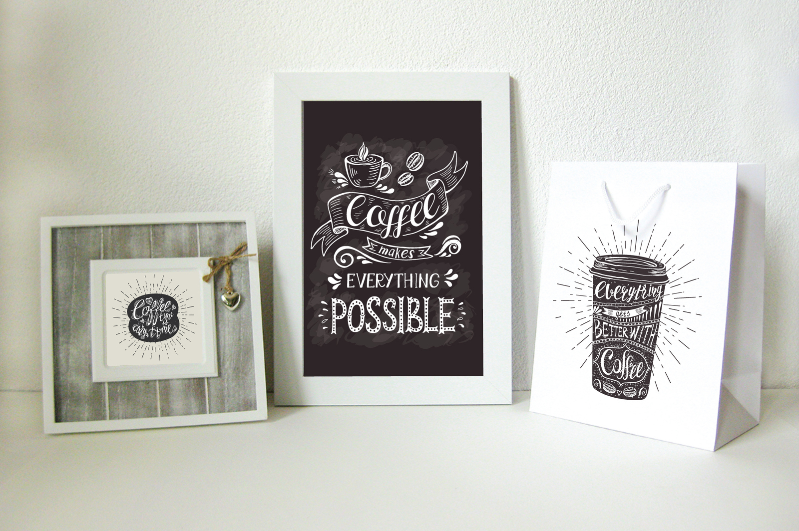 Set of Banners with coffee quotes and phrases .