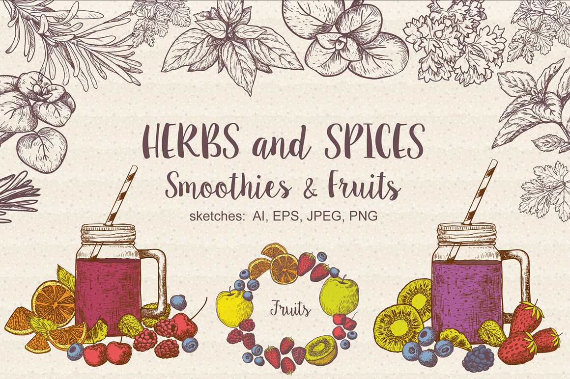 Set of vector Herbs, Spices, Smoothies and Fruits.