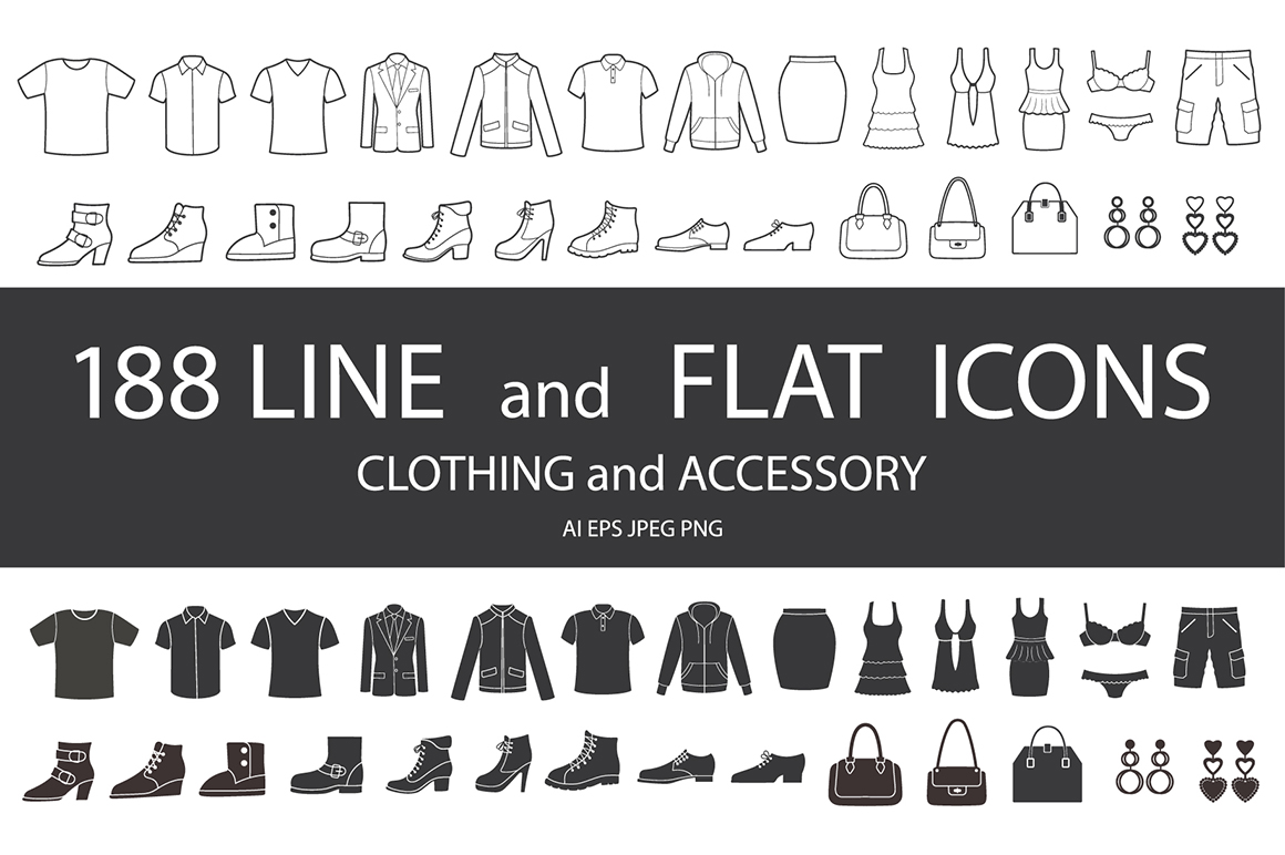 Set of clothing, shoes, accessories line and flat icons. Women's , Men's and Children's fashion. Seamless patterns with icons.