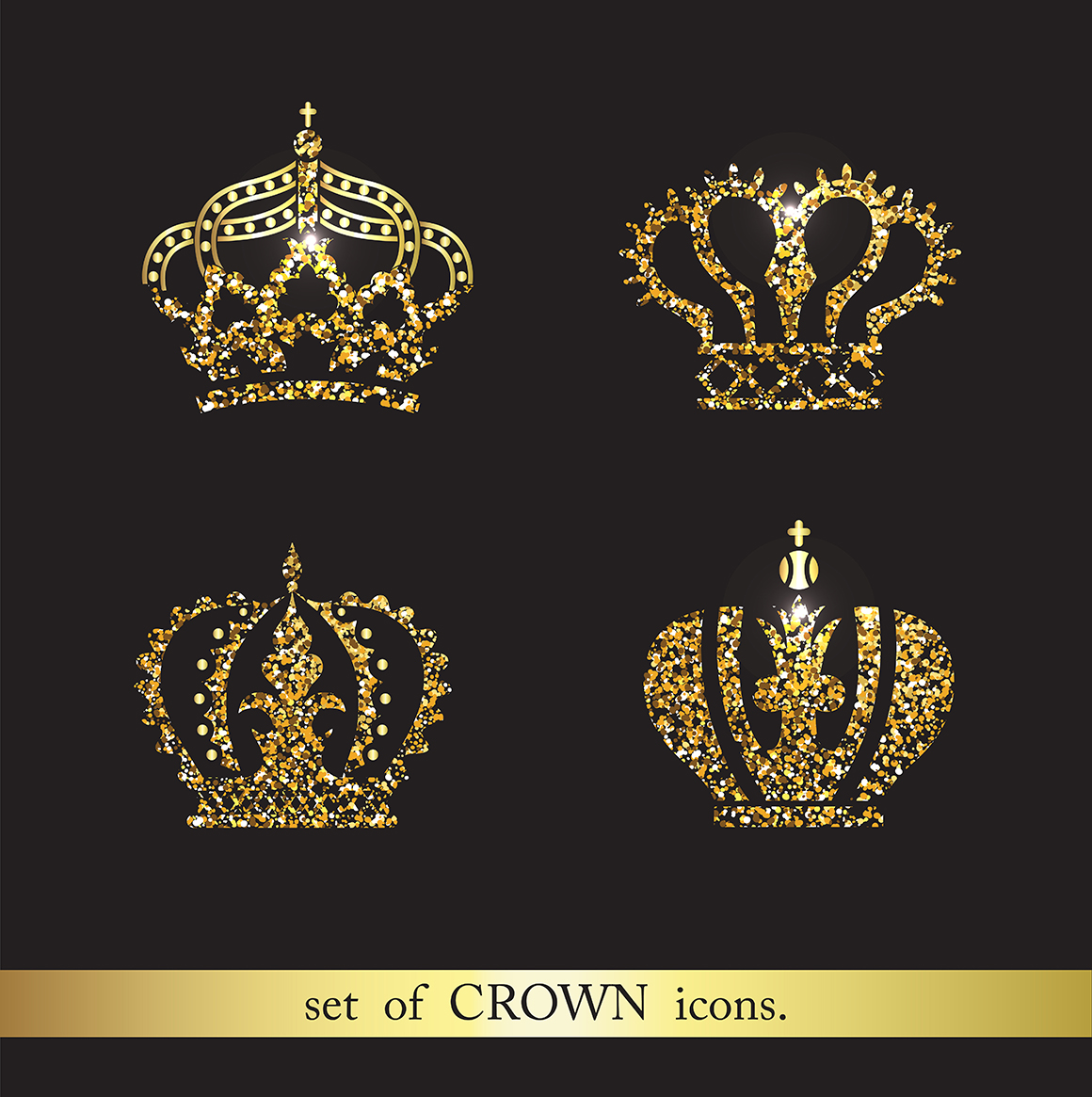 Set of gold crown icons.  Flat crown icons in black.