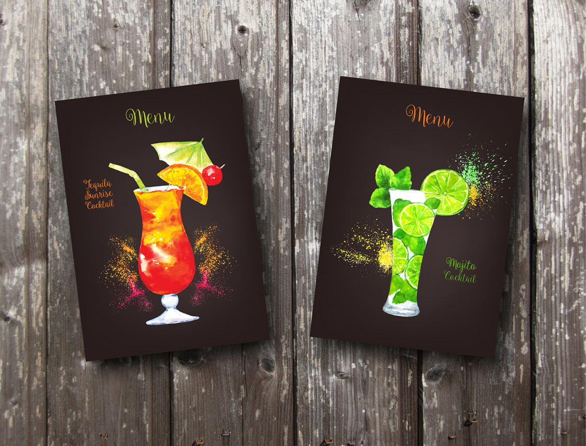 Set of watercolor fruits and cocktails.