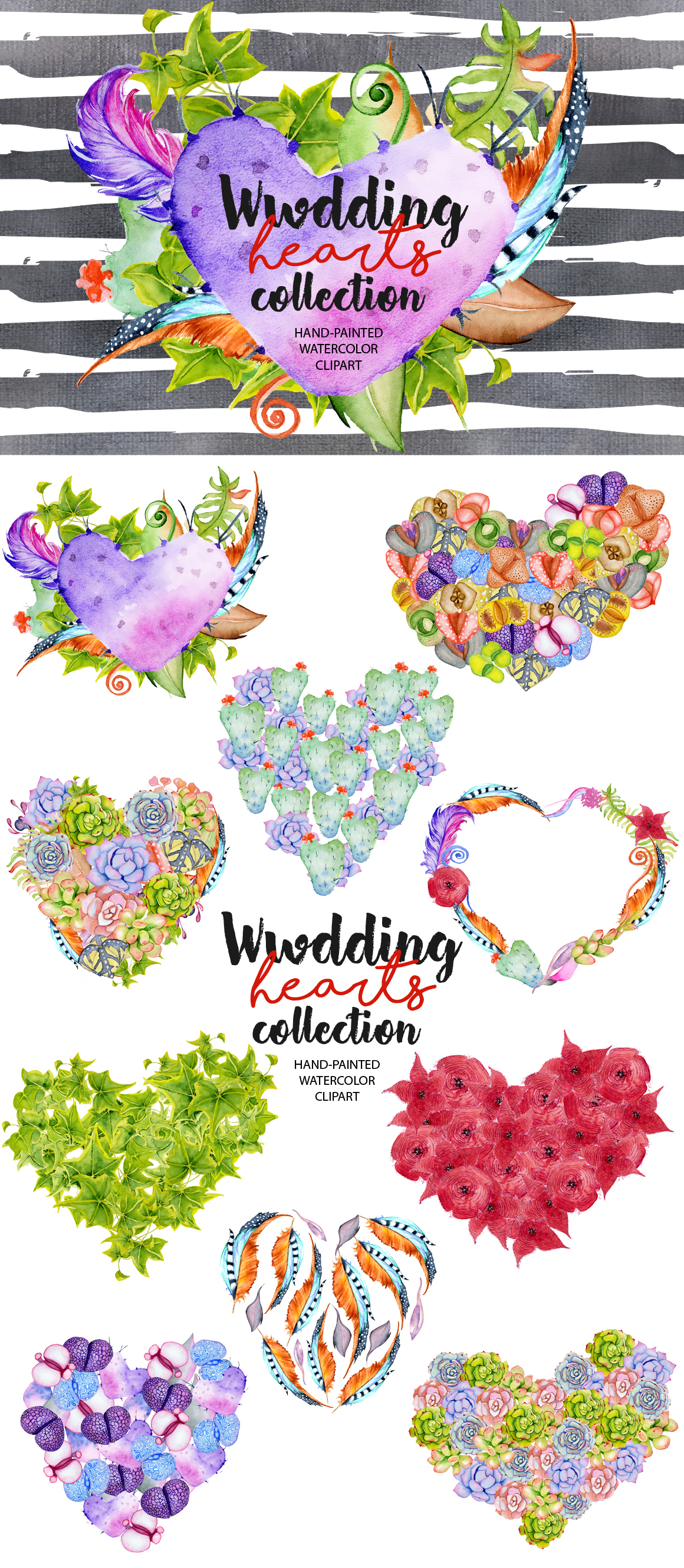 Wedding cactus hearts collection