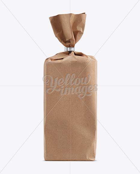 Large Kraft Bread Bag W/ Clip Mockup
