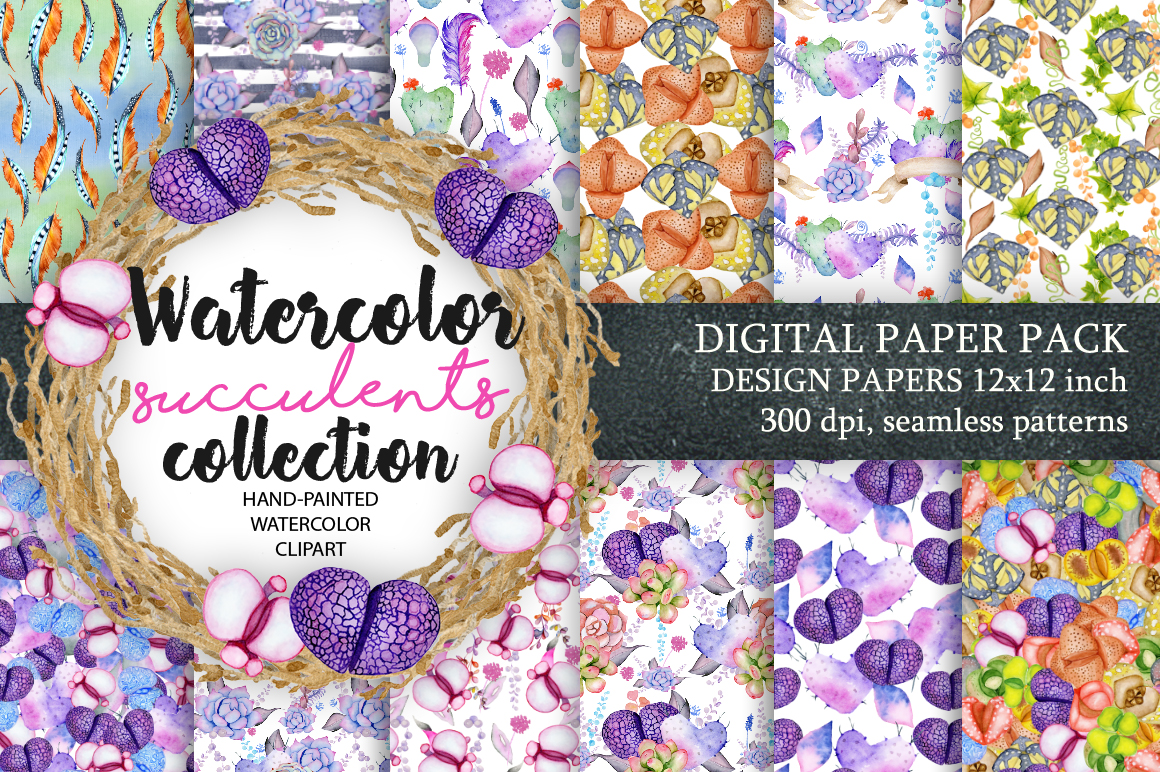 Digital Paper Pack, Waterclor seamless pattern, Watercolor Backgrounds, Floral Scrapbook Paper, Wedd