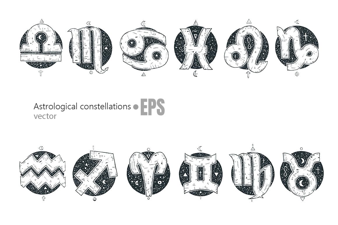 Hand drawn zodiac signs