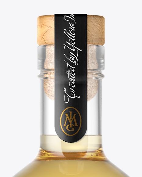 Tequila Gold Bottle with Wooden Cap Mockup