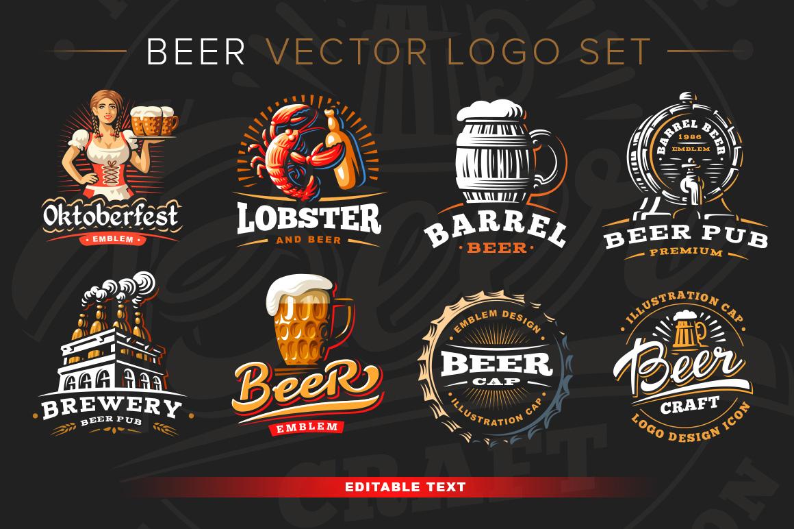 Beer logo set. + mockup