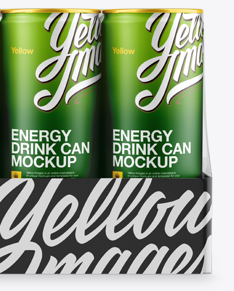 Transparent Pack with 12 Matte Aluminium Cans Mockup - Front View