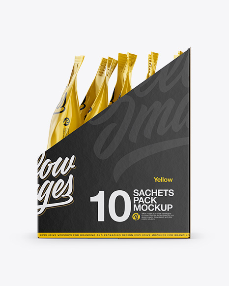 Download Opened Box 20 Kraft Sachets Front View PSD - Free PSD Mockup Templates